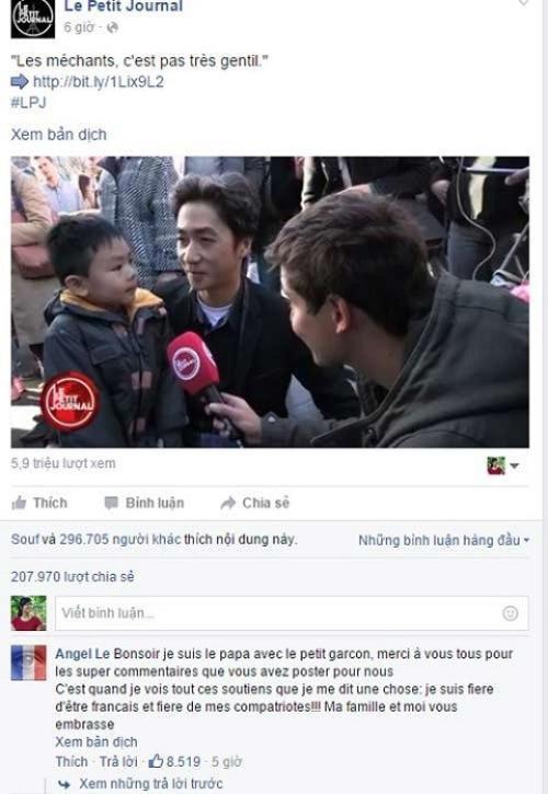 Cậu bé đáng yêu cùng người bố gốc Việt đã thu hút sự chú ý rất lớn của dư luận.