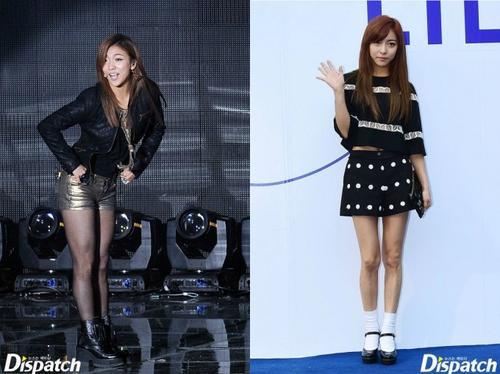 """Gần đây, đôi chân của thành viên nhóm f(x) Luna thon thả hơn nhờ giảm cân. Trước đây, trong chương trình Strong Heart, Luna thú nhận """"đôi chân voi"""" khiến cô mặc cảm rất nhiều."""