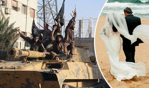 Hai người đã có một kỳ trăng mật lãng mạn dài ngày ăn tối với thịt cừu nướng trong nhà hàng 5 sao ở thành phố Raqqa, vừa thong dong dọc bờ sông Euphrates vừa ăn kem.