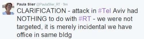 Trên Twitter của mình, phóng viên Slier cũng cập nhật thông tin nói rằng vụ tấn công này không nhằm vào hãng RT và chỉ ngẫu nhiên xảy ra ở tòa nhà có văn phòng của họ.