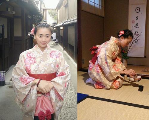 """Ngô Thanh Vân học cách pha trà đạo kiểu Nhật. Cô cho rằng đòi hỏi sự thành tâm và kiên nhẫn mới còn thể """"thấm"""" được trà đạo."""