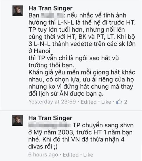 Những chia sẻ của diva Trần Thu Hà về vụ việc thông qua các bình luận.