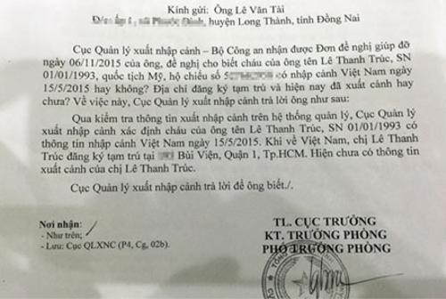 Công văn của Cục QLXNC phản hồi đơn đề nghị giúp đỡ của ông Tài. Cơ quan Quản lý XNC xác định Trúc có về Việt Nam và hiện (đến ngày 12/11) vẫn chưa có thông tin xuất cảnh.