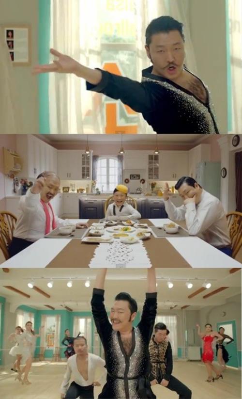 Psy cùng lúc hóa thân thành 3 bố con ở 3 thế hệ.