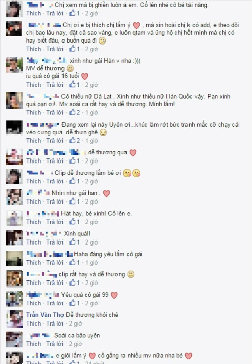 Rất nhiều phản hồi tích cực từ người nghe dành cho MV đầu tay của Bảo Uyên.