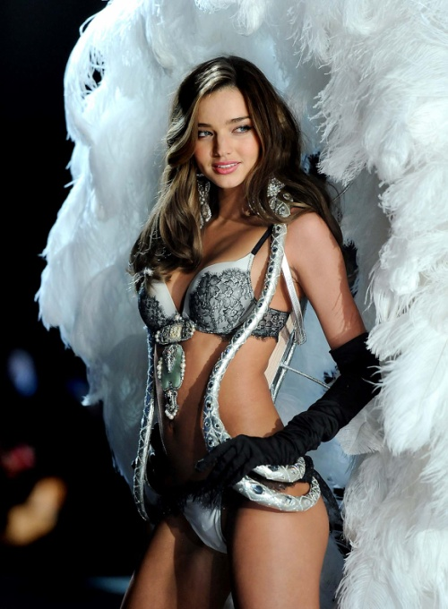 Miranda Kerr poses on the runway during the 2012 Victoria's Secret Fashion Show.