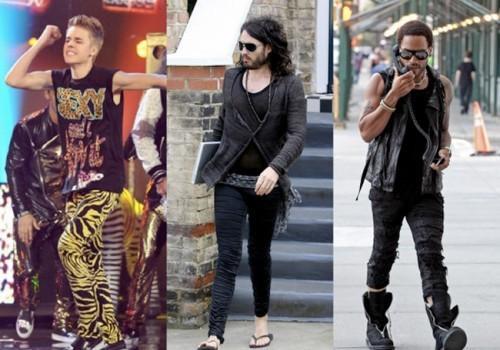 Các Sao nam nổi tiếng trên thế giới cũng lựa chọn leggings cho phong cách dạo phố hay sẵn sàng mang chúng lên sân khấu trình diễn.