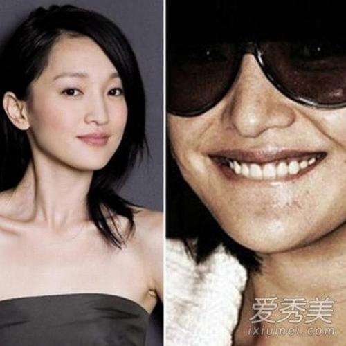 Châu Tấn với gương mặt đầy tàn nhang và sạm khi không trang điểm. Một sự tương phản đáng kể với vẻ ngoài long lanh thường thấy của người đẹp.