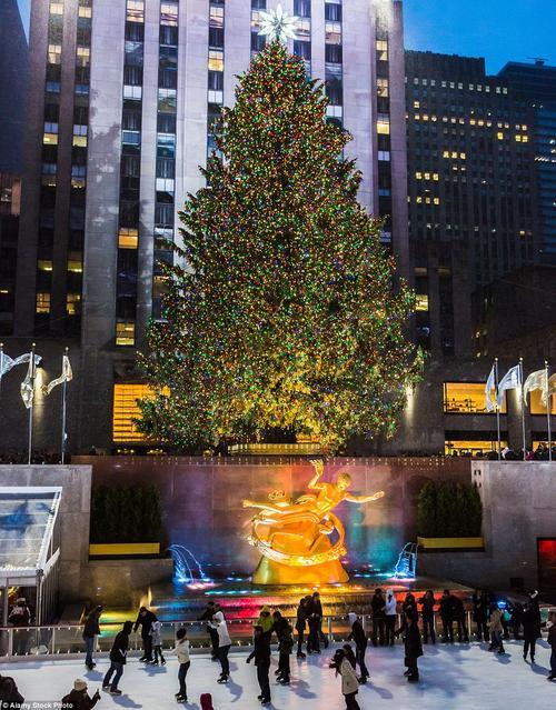 Cây thông trước tòa nhà Rockefeller cao hơn 20 m được thắp sáng bởi 45.000 bóng đèn.