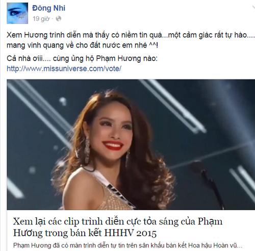 Đông Nhi bày tỏ sự tự hào với Phạm Hương và kêu gọi các fan tiếp tục ủng hộ.