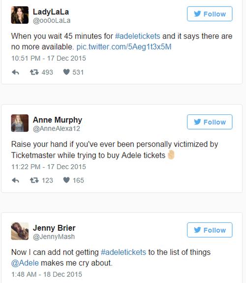 Loạt người hâm mộ than thở trên Twitter.