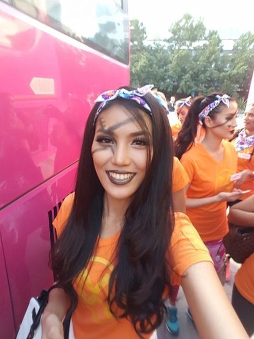 Lan Khuê trong ngày tranh tài phần thi Hoa hậu Thể thao.