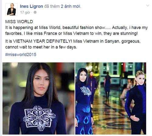 """Ngày 14/12, trên trang cá nhân của mình, chuyên gia đào tạo hoa hậu Ines Ligron - người nổi tiếng trong lĩnh vực đào tạo người đẹp với thành tích huấn luyện Riyo Mori trở thành Hoa hậu Hoàn vũ 2007 và trước đó là Kurara Chibana, á hậu Hoàn vũ 2006 -  đã đưa ra những lời khen ngợi đặc biệt cho đại diện của Pháp hoặc Việt Nam tại cuộc thi Hoa hậu Thế giới năm nay. Nhận xét về Lan Khuê, bà cho rằng cô và đại diện nước Pháp """"xứng đáng là những người chiến thắng"""" và họ """"thật đáng kinh ngạc""""."""