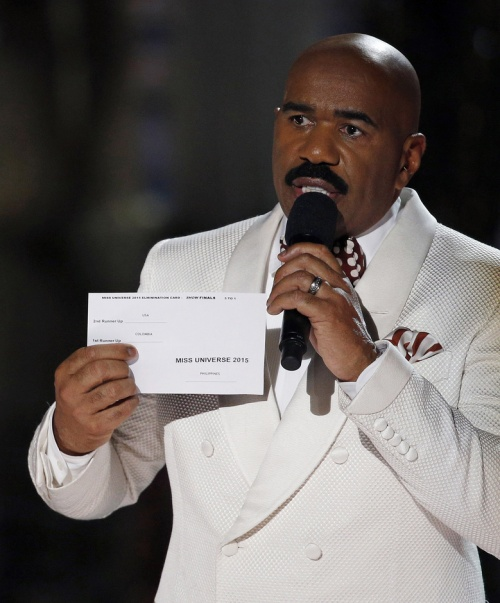 Steve Harvey holds up the card showing the winners after he incorrectly announced Miss Colombia Ariadna Gutierrez as the winner at the Miss Universe pageant on Sunday, Dec. 20, 2015, in Las Vegas. Miss Philippines Pia Alonzo Wurtzbach was named Miss Universe. (AP Photo/John Locher)