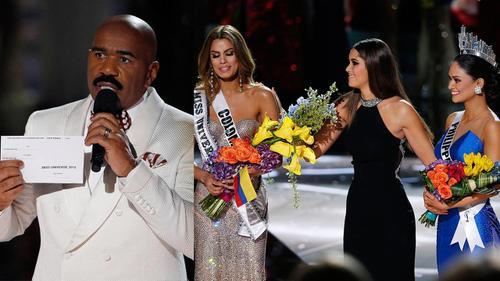 MC Steve Harvey công bố nhầm người đăng quang tại Hoa hậu Hoàn vũ thế giới 2015.