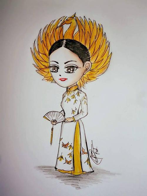 Người hâm mộ tự tay vẽ bức ảnh Phạm Hương trong trang phục truyền thống trên sân khấu Hoa hậu Hoàn vũ để gửi tặng cô.