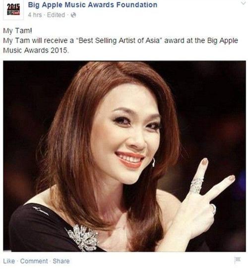 Mỹ Tâm đã chiến thắng giải thưởng BAMA dành cho Nghệ sỹ châu Á có lượng tiêu thụ cao nhất năm 2015.