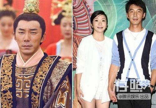 Lý Thừa Càn (trái) và nam diễn viên Lý Nhân ngoài đời cùng cô vợ nổi tiếng.