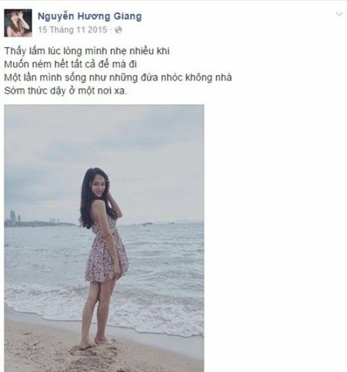 Những chia sẻ đầy tâm trạng của Hương Giang Idol xuất hiện rất nhiều trên facebook thời gian gần đây.