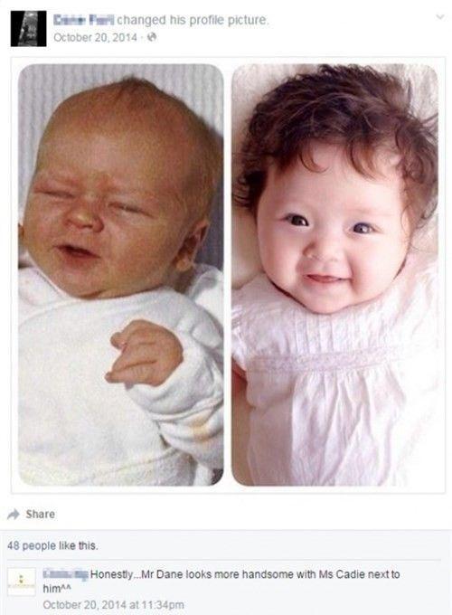 D.F ghép ảnh anh và Cadie để so sánh sự giống nhau giữa hai bố con.