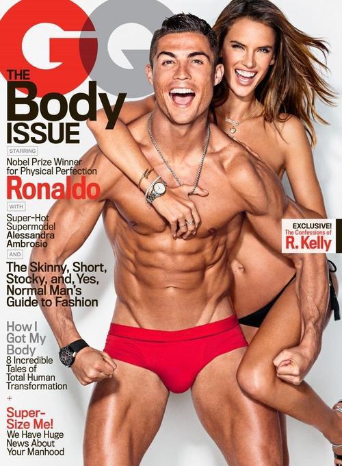 Tạp chí GQ số tháng 2/2016 vừa giới thiệu gương mặt trang bìa là ngôi sao sân cỏ Cristiano Ronaldo và thiên thần nội y Victoria's Secret Alessandra Ambrosio.