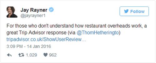 (Gửi tới những con người không hiểu về các chi phí overhead của nhà hàng, quả là một bài hồi đáp tuyệt vời)