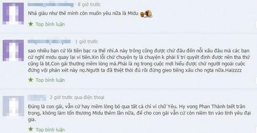 Nhiều người hâm mộ bày tỏ mong muốn Phan Thành sẽ trân trọng Midu