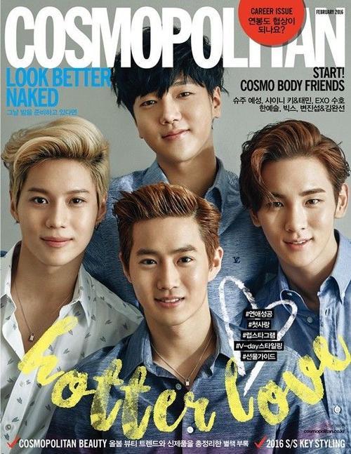 Tạp chí Cosmopolitan số tháng 2/2016 của Hàn Quốc quy tụ 5 mỹ nam Kpop lên trang bìa. Đó là Yesung (Super Junior), Key và Taemin (SHINee) cùng Suho (EXO).
