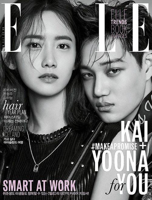 Sang tới Elle, 2 ngôi sao nhà SM là Yoona (SNSD) và Kai (EXO) tạo thành bộ đôi trang bìa cùng ủng hộ chiến dịch Make A Promise.