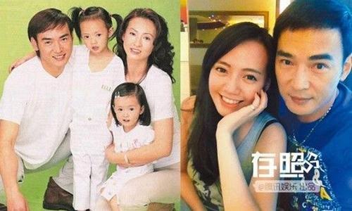 Tiêu Ân Tuấn bên vợ cũ và con (ảnh trái) và vợ hiện tại.