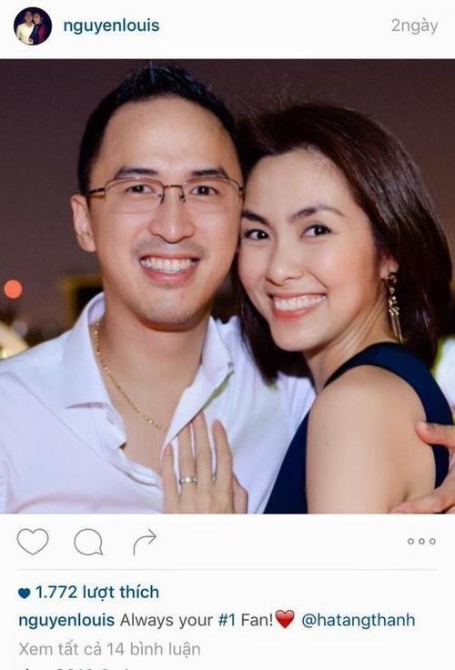 """Không những thế, Louis Nguyễn còn """"lấy lòng"""" bà xã bằng việc đăng tiếp một bức ảnh hai vợ chồng cười rạng rỡ hạnh phúc bên nhau với dòng chú thích: """"Always your #1 fan"""" (Tạm dịch: Anh sẽ luôn là fan số 1 của em)."""