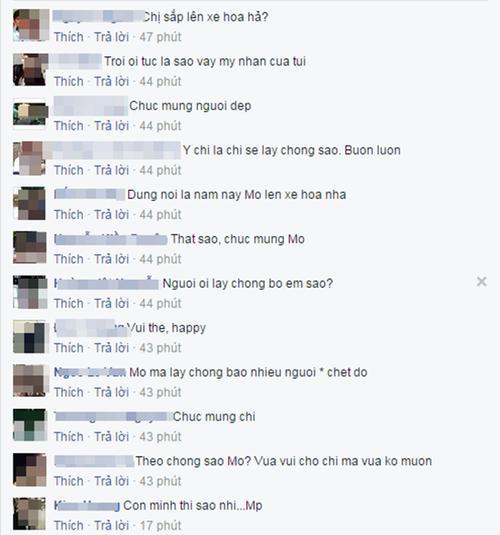 Nhiều bình luận chúc mừng ngay sau status chia sẻ của người đẹp.