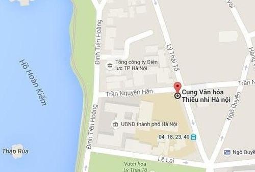 Cung Thiếu nhi Hà Nội nằm sát UBND TP, gần Hồ Hoàn Kiếm