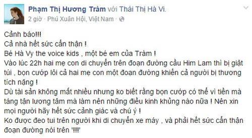 Status về vụ tai nạn của mẹ con bé Hà Vi được Hương Tràm đăng tải trên mạng xã hội.
