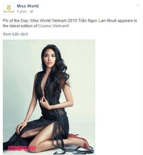 Tấm ảnh được đăng trên trang Hoa hậu Thế giới.