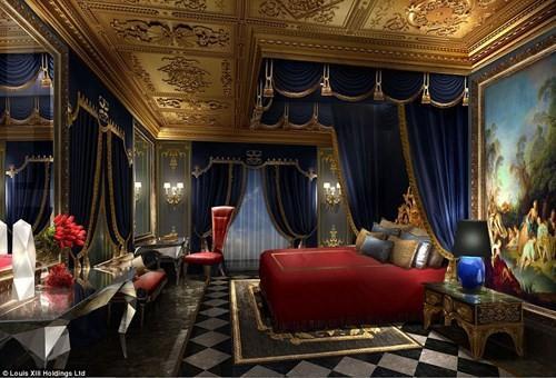Đây là những hình ảnh được chụp lại từ phòng nghỉ hạng phổ thông Villa du Comte - có diện tích nhỏ nhất. Trong khi đó, phòng nghỉ lớn nhất có tên Villa de Stephen với giá thuê khoảng 100.000 USD/đêm (tương đương 2,25 tỉ đồng). Trong phòng nghỉ hạng phổ thông có một phòng ngủ bao gồm những món đồ nội thất mang phong cách Barốc siêu sang trọng.