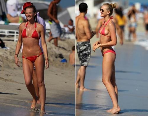 """Trong 6 tháng """"tạm"""" chia tay với Bar hồi 2009, Leo cặp kè với đồng nghiệp của Bar ở Victoria's Secret là Anne Vyalitsyna."""