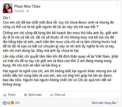 Phan Như Thảo tiếp tục công khai việc con và chồng bị hại trên trang cá nhân.