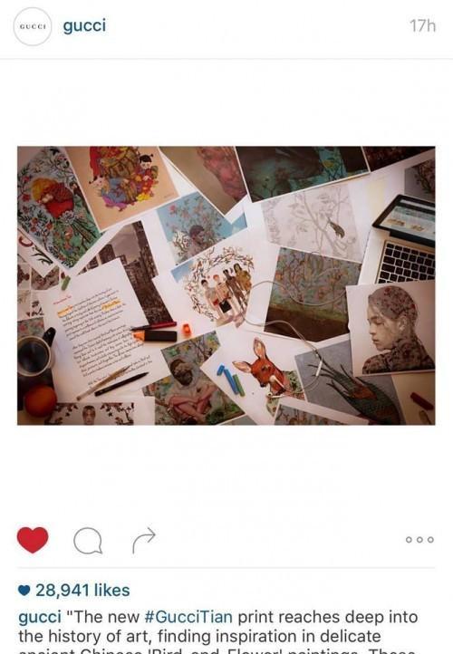 """Không những thế Kelbin còn cap lại ảnh thiết kế hoa văn trong chiến dịch mới trong đó có họa tiết của anh chàng được nhãn hiệu này updtae trên page Instagram chính thức của Gucci với caption """"Có ai thấy 2 cái ảnh nhỏ nhỏ kia không."""""""