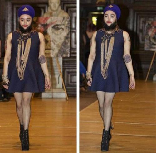"""Harnaam Kaaur - người phụ nữ… mọc râu từng gây xôn xao trên mặt báo thế giới - đã vừa trở thành người mẫu nữ """"có râu"""" đầu tiên sải bước trên sàn catwalk."""
