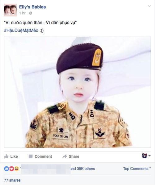 """""""Vi nước quên thân, vì dân phục vụ"""" - Elly Trần hóm hỉnh chia sẻ hình ảnh cô bé quân nhân Cadie vô cùng dễ thương."""