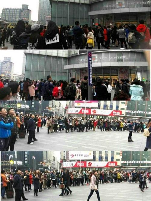 Hàng trăm người hiếu kỳ khi đứng bên ngoài và xem đoạn clip.