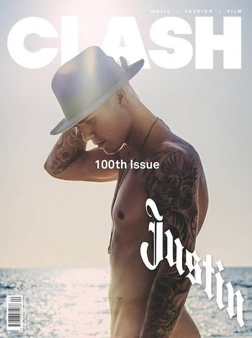 Cuối tháng 2 vừa rồi, Justin Bieber được tạp chí Clash số phát hành lần thứ 100 chọn là gương mặt trang bìa. Trong ảnh, giọng ca Sorry chỉ đội mũ fedora, đứng trước biển, 2 cánh tay chằng chịt hình xăm.