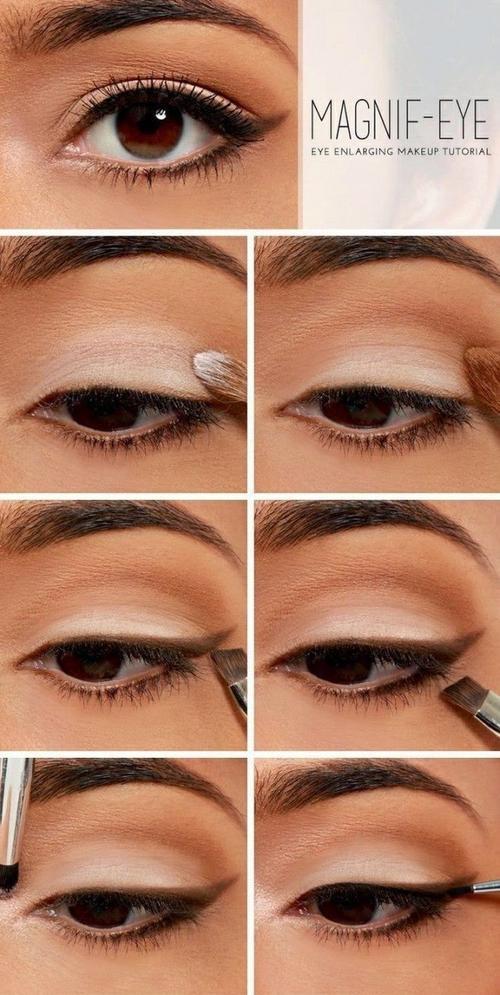 Đơn giản hơn, hãy tận dụng tông eye shadow trắng để làm sáng đôi mắt như hình.