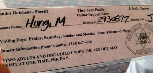 Phiếu ghi danh xin phép vào thăm Hồng Quang Minh (Minh Béo) tại nhà tù Theo Lacy Facility. (Hình: Ngọc Lan)