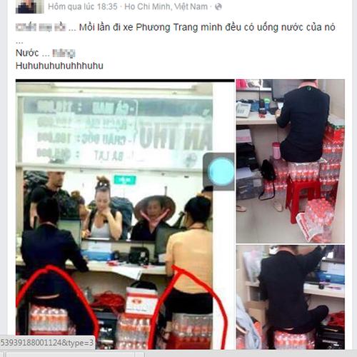 Những hình ảnh nhân vien bán vé xe khách ngồi trên những lốc nước suối sẽ phát cho khách được đăng tải trên mạng xã hội.
