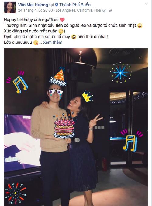 Ngày 24/4, Văn Mai Hương đăng ảnh chúc mừng sinh nhật bạn trai.