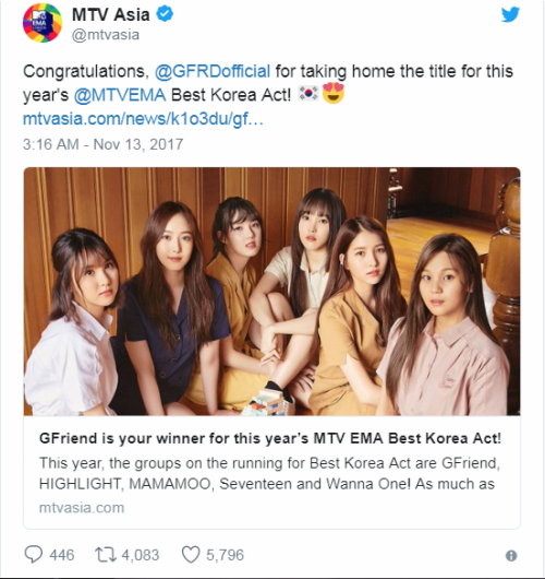 G-Friend bất ngờ thắng giải 'Nghệ sĩ Hàn Quốc xuất sắc nhất' tại MTV EMA 2017 - ảnh 2