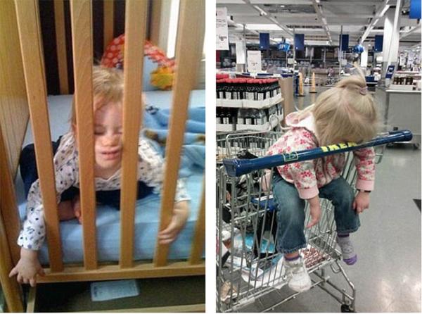 Có vẻ những đồ nội thất gỗ có tác động đến hai em bé trên.