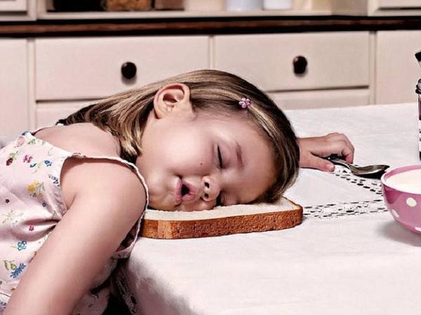 Bé gái lấy cả bánh mỳ sandwick làm chiếc gối nằm và gục trong nhà bếp của mẹ.